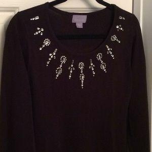 Laura Scott black rhinestone sweater NWOT